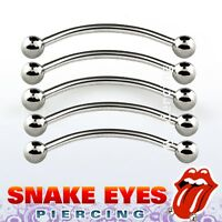 "5pcs. 16G 9/16"" 316L Surgical Steel Curved Barbell Tongue ""Snake-Eyes"" Piercing"