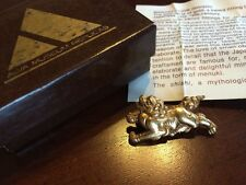 Vintage Gold Lion Foo Dog Brooch Pin - Shishi Menuki - Alva Museum Replicas