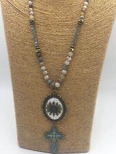 Fashion stone beads zinc Chain cross pendant clasp crystal necklace jewelry