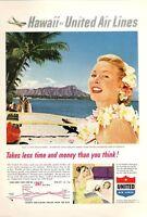 1953 United Airlines PRINT AD Diamond Head Hawaii Plane Great to Frame Fun Decor