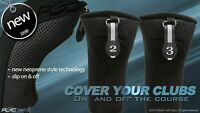 NEW THICK NEOPRENE BLACK HYBRID 2 PIECES ONLY # 2 3 GOLF CLUB HEAD COVERS NR