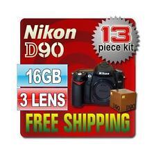 Nikon D90 SLR Camera Body & 16GB 13PC 3 Lenses New