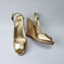Lilly Pulitzer Womens Shoes Wedge Peep Toe Slingbacks Metallic Gold Size US 10