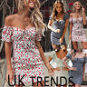 UK Womens Off Shoulder Lace Up Floral Ladies Summer Beach Holiday Mini Sun Dress