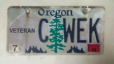 2013 OREGON Veteran License Plate C WEK