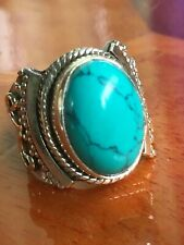 Turquoise Ring In Gorgeous Solid 925 Sterling Silver! M!
