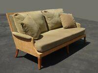 Vintage Mid Century Modern McGuire Sage Green Sofa Couch Settee