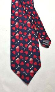 Necktie ROBERT TALBOTT Red Hearts & Gold Arrows BLUE BACKGROUND Silk CLASSIC