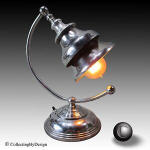 VTG 1930's Machine Age Art Deco Triple Shade Arc Lamp RESTORED