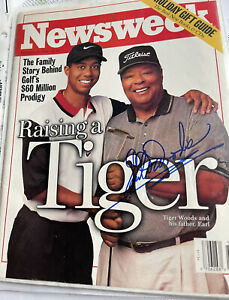 Earl Woods Signed Newsweek Magazine Tiger Woods Father December 1996