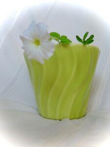 Vintage Bauer Pottery Chartreuse Swirl Flower Pot Planter