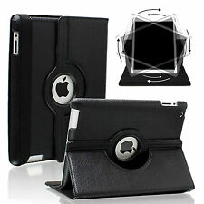 Apple iPad 2 3 4 - Black 360 Rotating Stand Leather Case Cover with wake/sleep