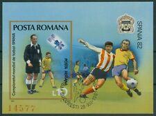Rumänien 1981 Mi.Block 185 ESST Fußball-WM Spanien,Satellit,Schiedsrichter