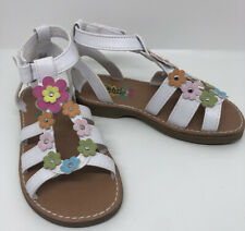 NWOB Gloria White Little Girls Shoes With Flowers, Hook And Loop Strap Size 11 M