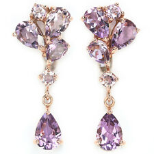 Sterling Silver 925 Rose Gold Coated Genuine Natural Amethyst Dangle Earrings