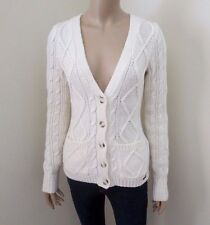 NWT Hollister Womens Cable Knit Wool Cardigan Sweater Size Small Cream Top Shirt