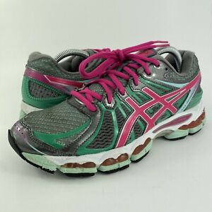 Asics Gel-Nimbus 15 Running Shoes Grey/Pink/Green T3B5N Women's Size 10