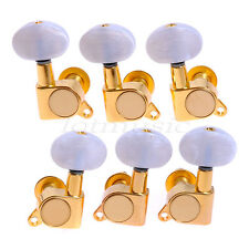 Acoustic Guitar Tuning Machine Heads 3L3R Gold White Pearloid Buttons Tuning Peg