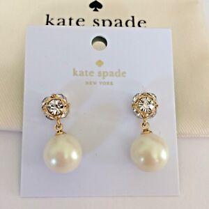 NWT Kate Spade New York Lady Marmalade CREAM/GOLD Pearl Earrings O0RU1959
