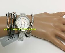 FOSSIL 3 PC SET ROSE GOLD+SILVER TONE,2 MULTI BRACELETS,CRYSTALS,WATCH-BQ3150SET