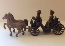 Vintage Antique Cast Iron Horse & Buggy Carriage w Passenger Toy - USA