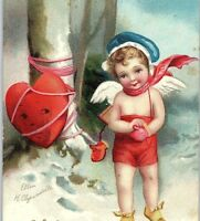 C.1910 Clapsaddle Adorable Cupid Snow Tied Heart Snow Valentine Postcard P134
