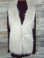 NEW! 2 Chic Women's Faux Fur Vest Coat Pockets Lined Beige Hip Length Size S/M