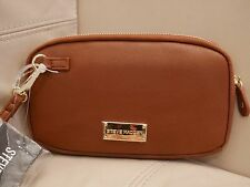 NEW STEVE MADDEN COGNAC QUILTED LEATHER ZIP AROUND WRISTLET WALLET MO194115