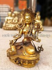 Tibet prayer buddhist Ancient Bronze gilding Buddha Tara (Green) Old Statue