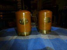 Vintage POUR LA TABLE French COPPER & BRASS Salt & Pepper Shakers W/ Patina VG !