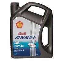 Shell 550027077 Advance 4T Ultra 10W 40 4Ltr Motor Cycle 4 Stroke Engine Oil