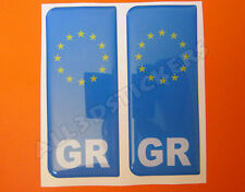 2x3D Sticker Resin Domed Euro GREECE Number Plate Car Badge Adhesive Vinyl Decal