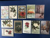 11 Glitter & Beaded Antique Christmas Postcards 1900s. For Collectors w Value