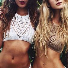 Women Crochet Lace Bralette Knit Bra Boho Beach Bikini Halter Cami Tank Crop FT