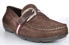 New Bally Switzerland Brown Tuxa Suede Web Stripe Loafers Shoes US 9 EU 39.5