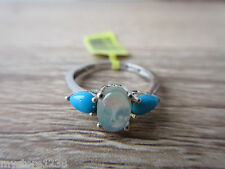 Ethiopian Welo Opal & Sleeping Beauty Turquoise Ring Platinum Over Sterling Sz 5