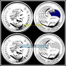 2x CANADA 2011 CANADIAN PARK QUARTER ORCA WHALE REG & COLORIZED 25 CENT COIN LOT