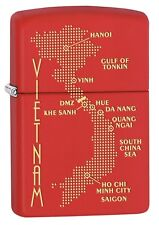 Zippo Lighter: Vietnam War Map - Red Matte 77370