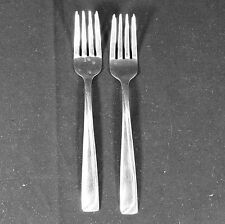 2 Pfaltzgraff Portrait Stainless Salad Forks Modern Solid Glossy Straight Ridge