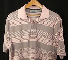 Ashworth Mens Short Sleeve Pink Black Stripe Polo Golf Shirt L