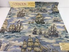"Vtg Tall Ships Collection UNION 26"" Square Fabric 3 Piece Lot Covington Fabrics"