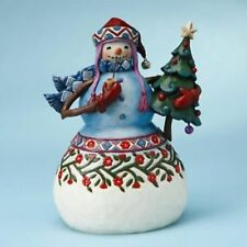 Enesco Jim Shore Heartwood Creek Snowman with Pipe and Tree Nib 4017671