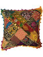 Indian Patchwork Gujarati Mandala Sari Ethnic Silk Cushion Covers Pom Poms 40cms