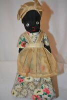 Vintage Handmade Cloth Doll On Antique Glass Nescafe Coffee Jar Bottle 1940's