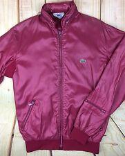 Vintage Men's Izod Lacoste Nylon Windbreaker Jacket Zip Hoodie Small Burgundy