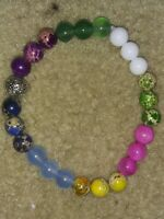Handmade Healing,Balance,prayer CHAKRA GEMSTONE BEADED BRACELET metal bead space