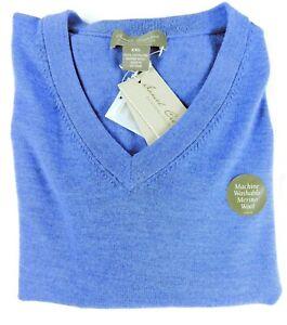 Daniel Cremieux 100% Extra Fine Merino Wool V-Neck LS Men Sweater Blue XXL NEW