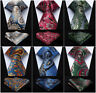 "Men's Necktie 3.4"" Silk Woven Tie Fashion Party Wedding Pocket Square Set  H5"