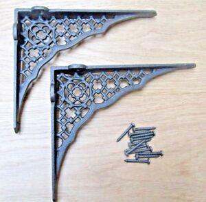 "PAIR OF 12"" JALI LATTICE  ornate shelf Bracket wall Support books storage"