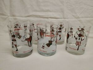Neiman Marcus Moose Merry Fitness Double Old Fashioned Glasses Christmas 6 Set